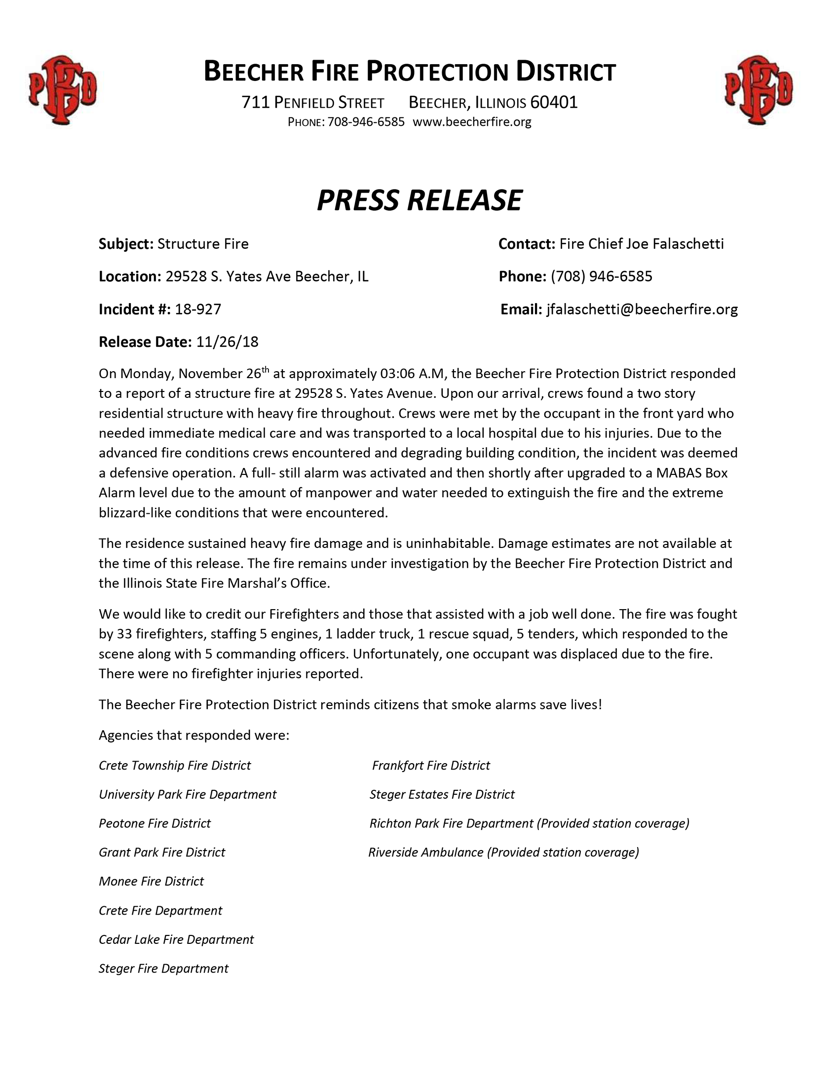 Beecher Fire Protection District press release for house fire