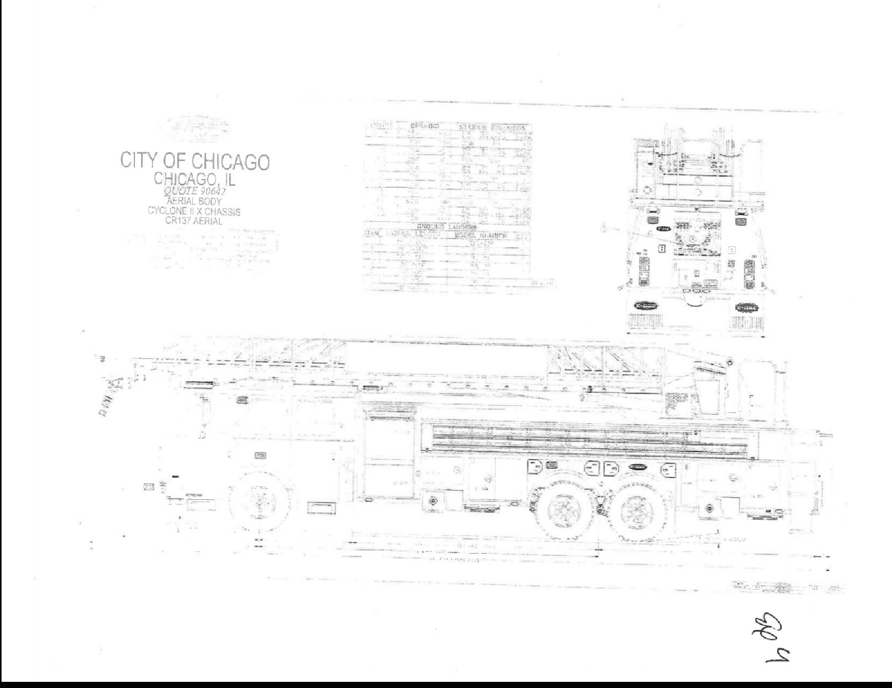 drawing of E-ONE 137-foot aerial ladder fire truck for the Chicago FD