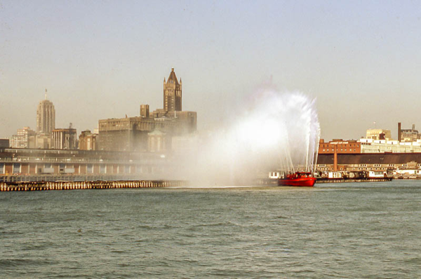 Chicago fire boat spraying water
