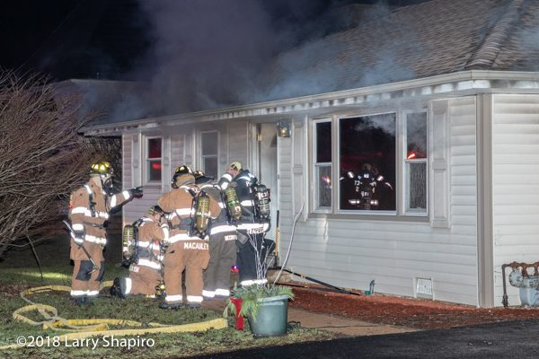 Firefighters prepare to make entry to house on fire