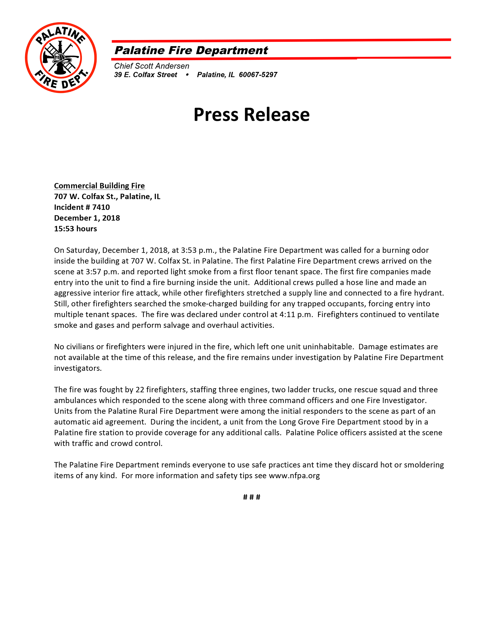 Palatine Fire Department press release