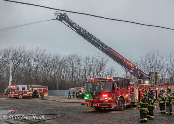 Merrionette Park quint at fire scene