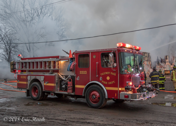 Calumet Park FD fire engine at scene