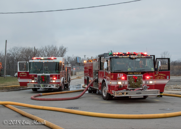 Robbins and Oak Forest FD fire engines at scene