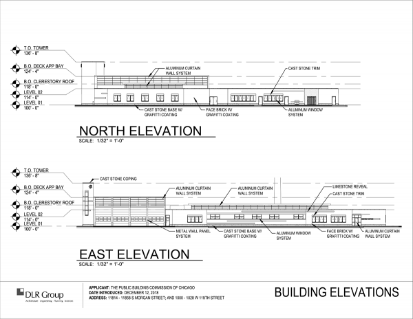 conceptual drawing of new Chicago fire station at 119th and Morgan for Engine 115. and others