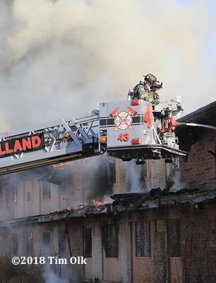 South Holland FD tower ladder at a fire scene