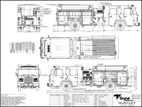 drawing of a Spartan/Toyne fire engine for the Huntley FPD