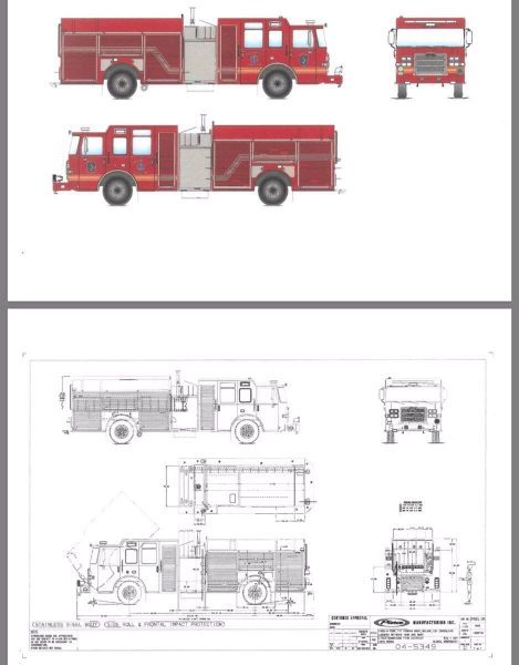 drawing of new Pierce fire engine