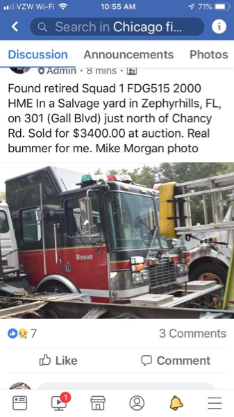 Former Chicago fire truck in Florida scrap yard