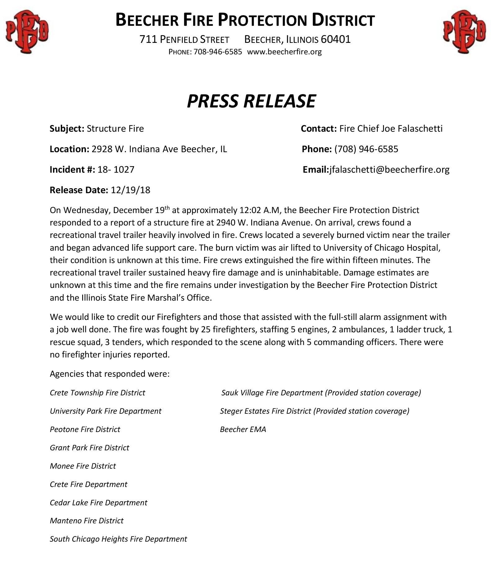 Beecher Fire District press release