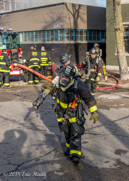 "Chicago Firefighter pulling a 2 1/2"" hose line"
