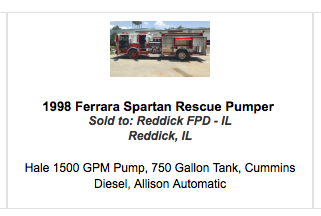 Redick FPD in Illinois purchased a used fire engine