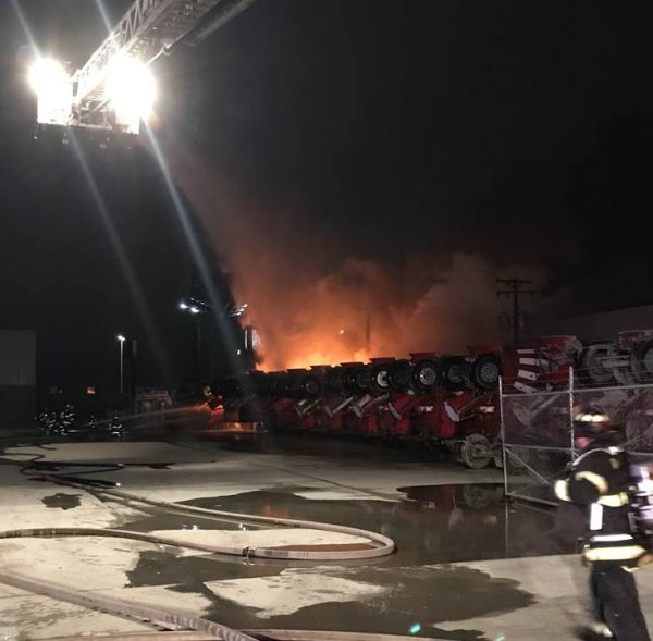 Multiple Ozinga concrete trucks were destroyed by fire at 200 Jarvis in Des Plaines, IL 12/23/18