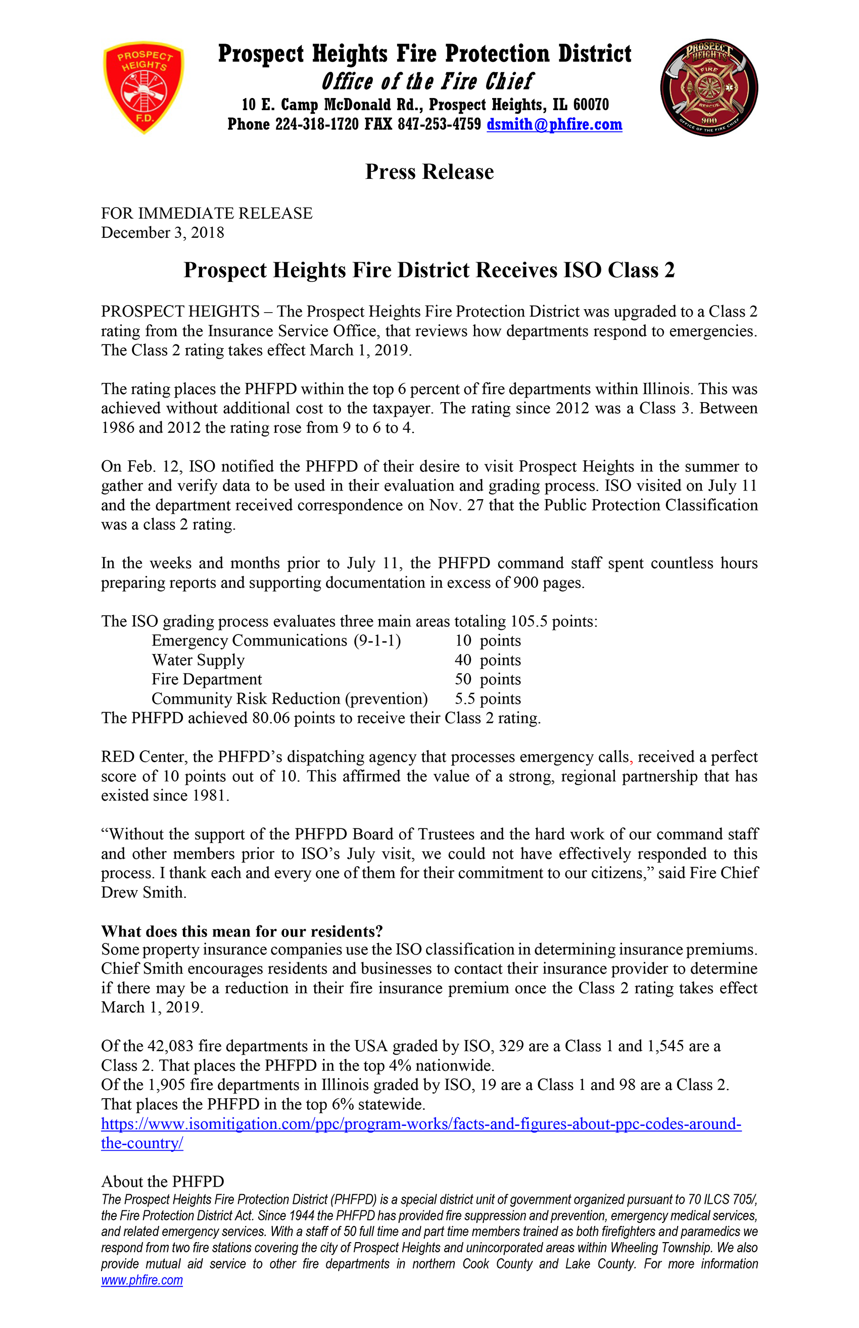 Prospect Heights Fire Protection Districts receives ISO Class 2 rating