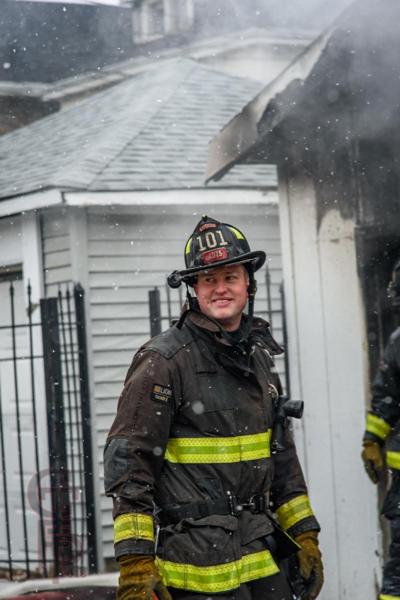 face of a Chicago firefighter on scene