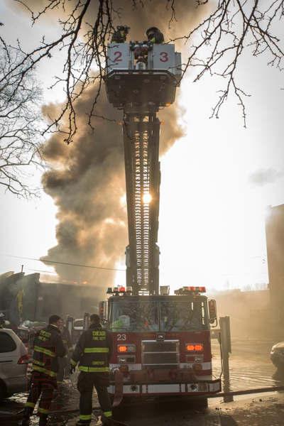 heavy smoke from commercial building fire