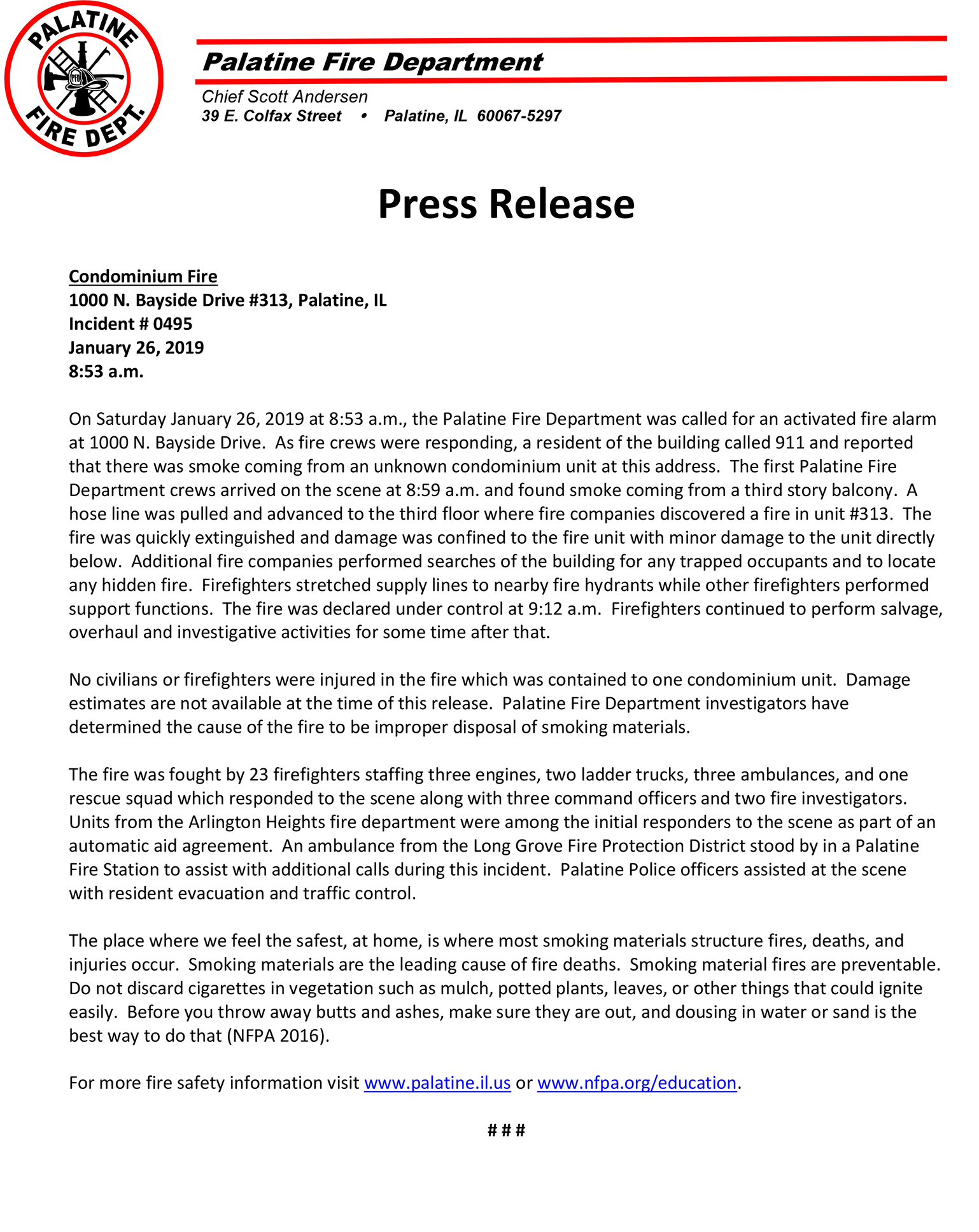 Palatine FD press release - apartment fire 1/26/19