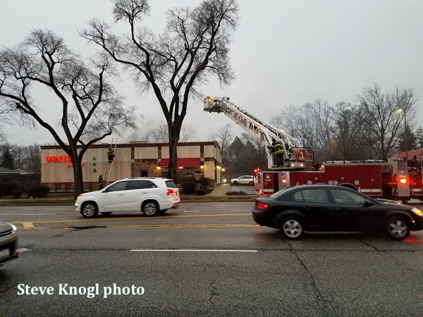 Firefighters at restaurant fire