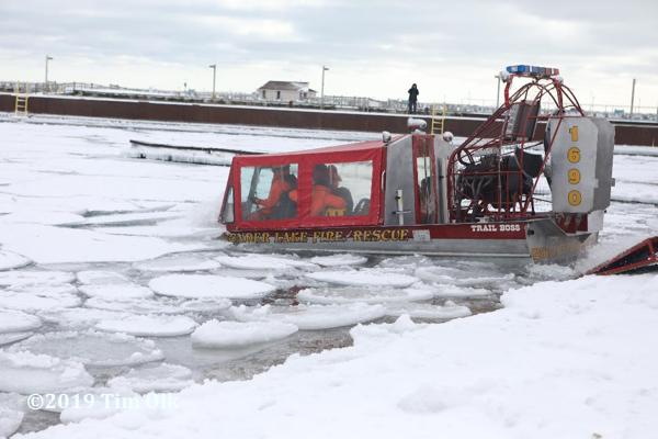 Wonder Lake FPD air boat enters frozen lake