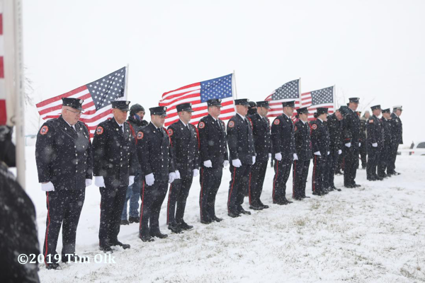 Firefighter funeral in a snow storm