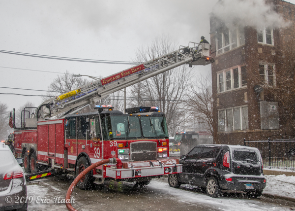 Tower Ladder 39 at work