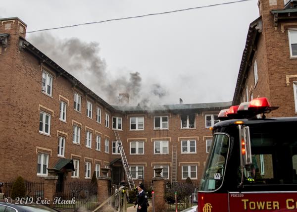 smoke from courtyard building