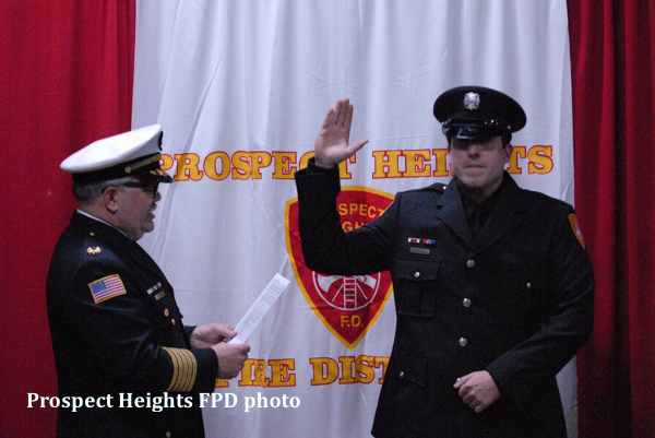 Prospect Heights FPD FF Will Thomson is sworn in