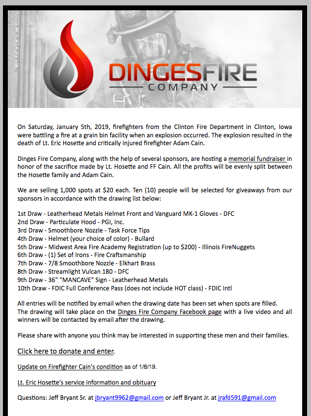 Dinges Fire Company fundraiser for Clinton Firefighters
