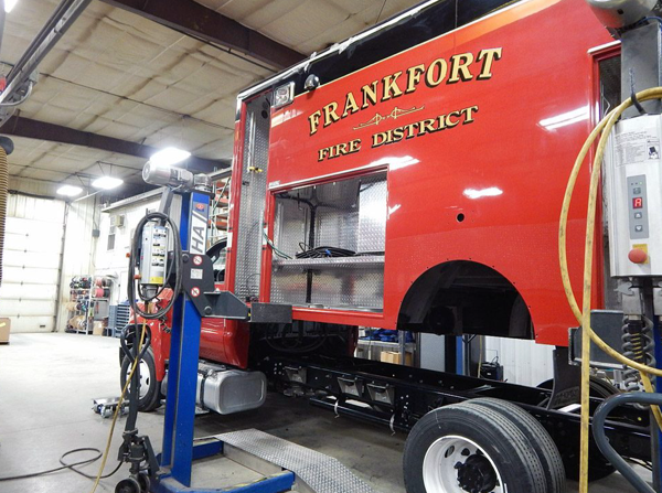 Frankfort FPD ambulance being rebuilt