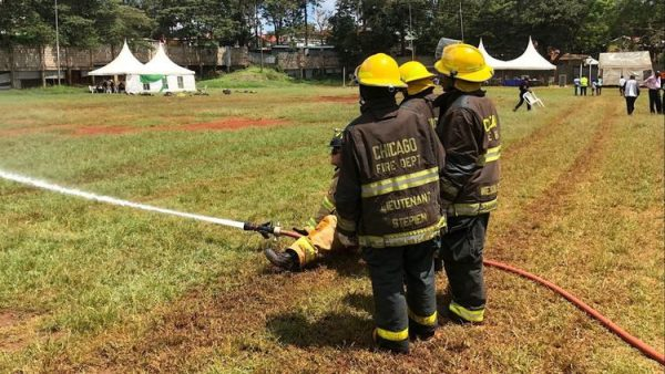 Some participants in Africa Fire Mission's December training near Nairobi, Kenya, wore protective gear donated by the Chicago Fire Department. (Africa Fire Mission photo)