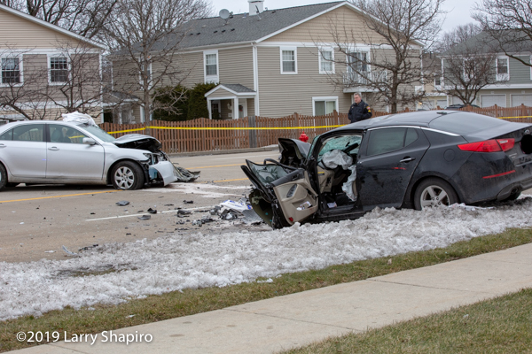 Two cars destroyed after head-on crash in Wheeling, IL 2/5/19 that injured four people.