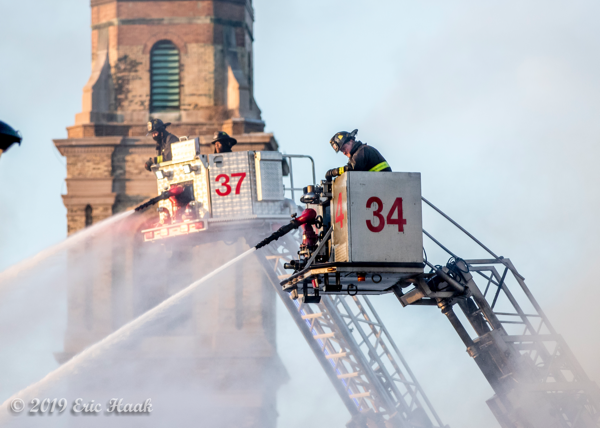 Chicago FD tower ladders new and old