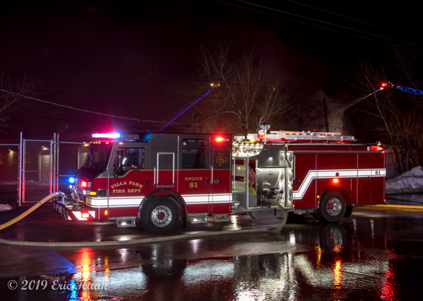 Villa Park FD Engine 81 at a fire scene