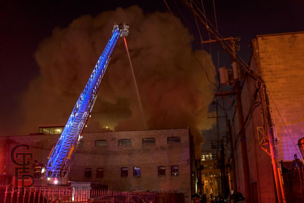Chicago FD tower ladder at fire scene