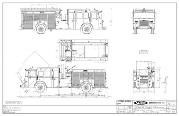 Mechanical drawing of new Pierce fire engine for the Springfield FD.