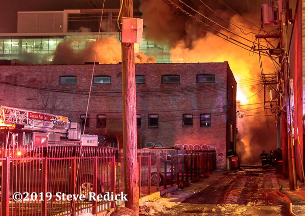 industrial building fire with heavy fire