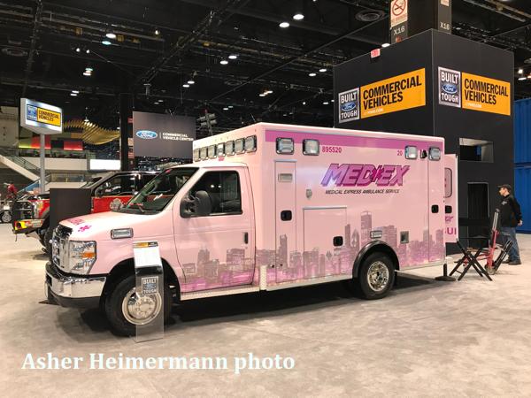 pink decals on MEDEX ambulance