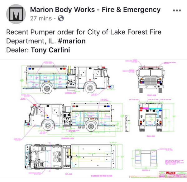 engineering drawing of a new fire engine for the Lake Forest Fire Department to be built by Marion Body Works