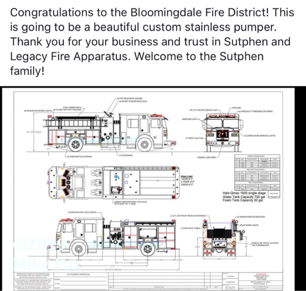 engineering drawing of a new fire engine for the Bloomingdale FPD to be built by Sutphen Fire Apparatus