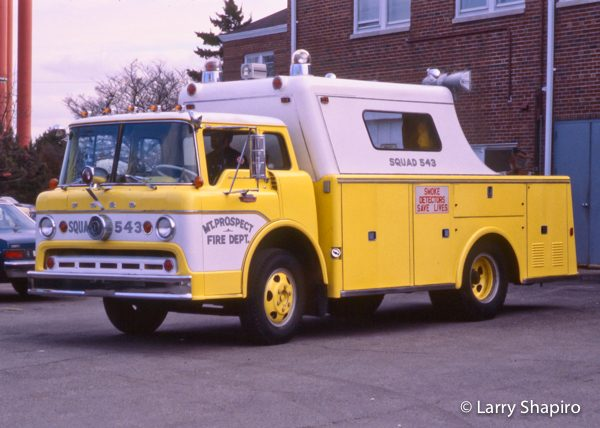 vintage fire department squad truck