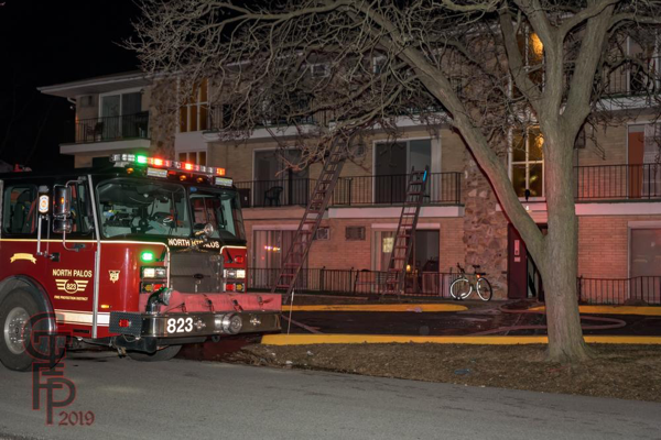 North Palos FPD at apartment fire in Worth IL