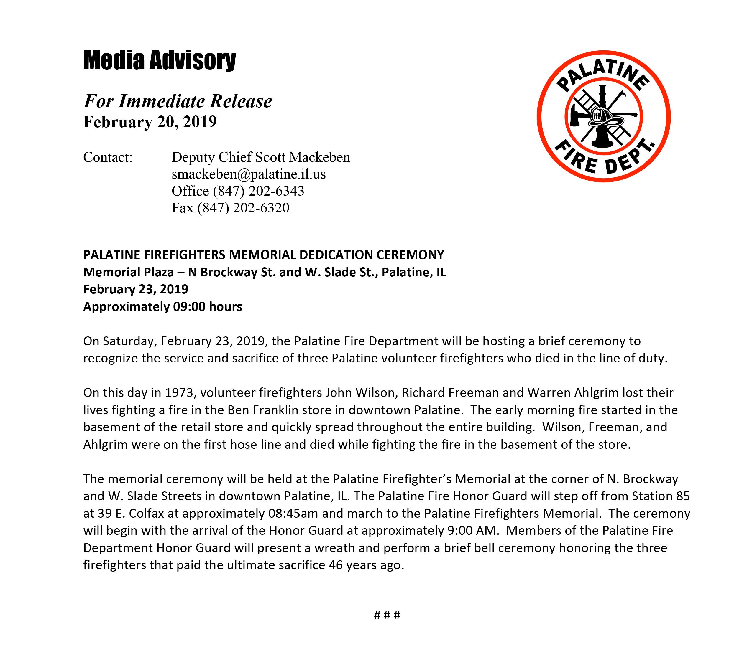 Palatine FD Press Release