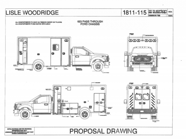 drawing of proposed Type I Horton ambulance for the Lisle-Woodridge FPD in Illinois