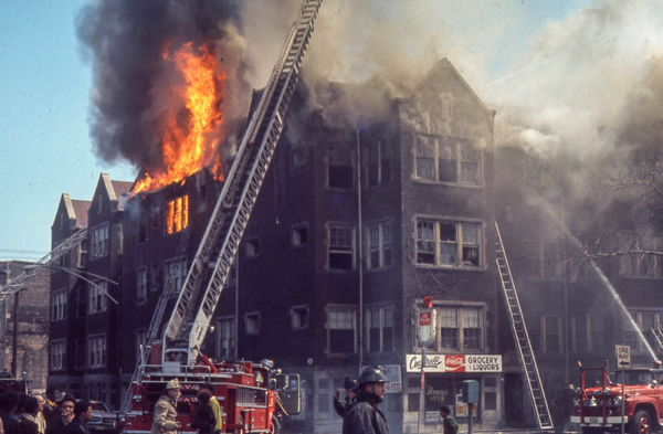 massive building fire in Chicago in 1971
