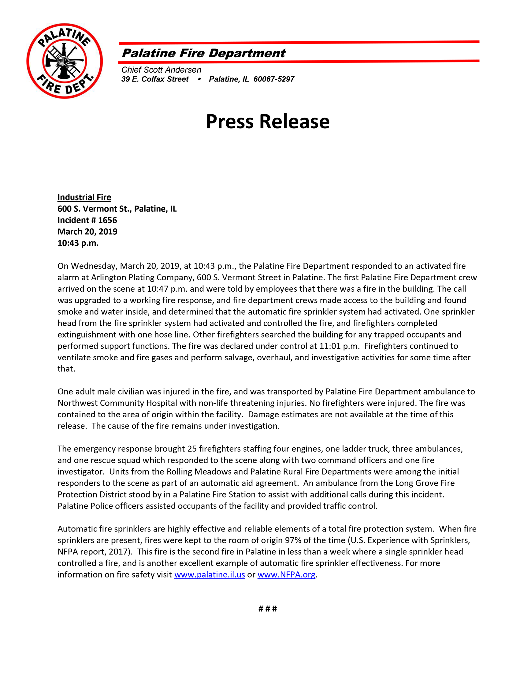 Palatine Fire Department press release,
