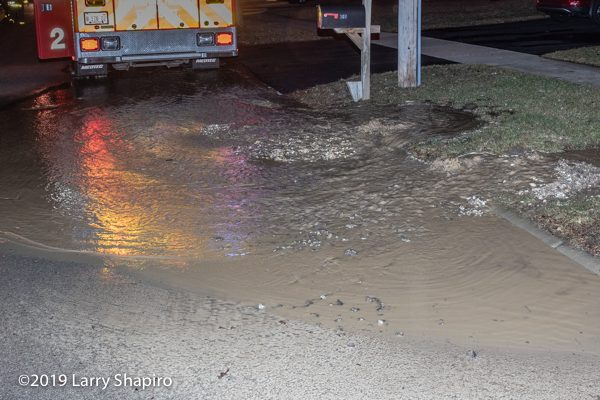 water main break at fire scene