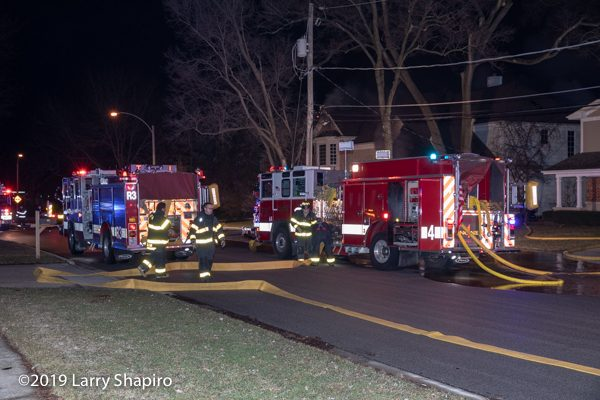Arlington Heights FD Pierce Quantum fire engines at fire scene