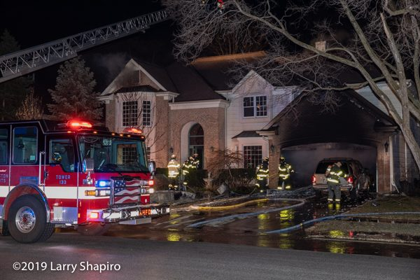house fire scene at night with Pierce Dash CF PUC