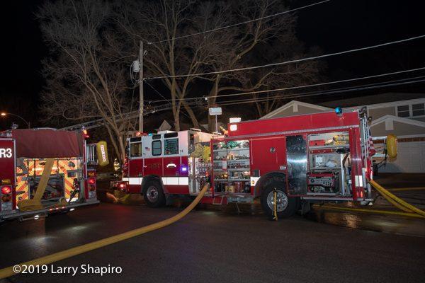 Arlington Heights FD Pierce Quantum fire engine at fire scene