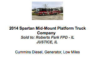 2014 Spartan 100' mid-mount platform  on a Gladiator chassis